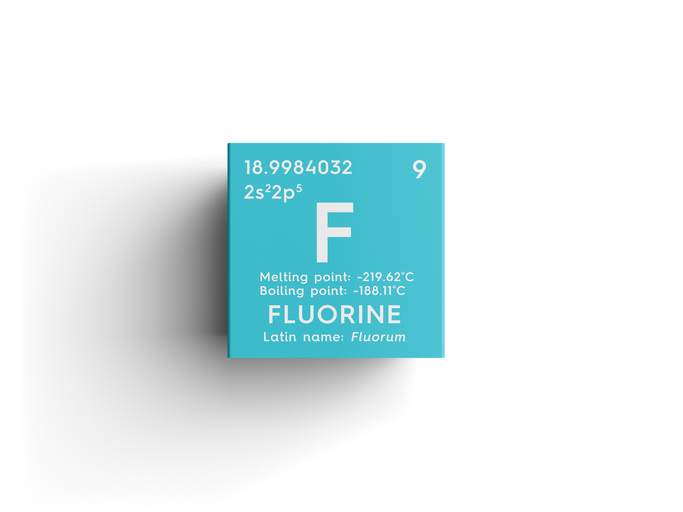 F from fluorine symbol from the periodict table of elements